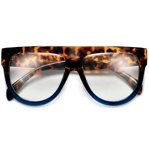 Flat Top Shadow Clear Lens Fashion Icon Eyewear