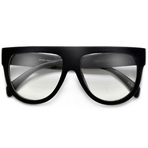 Flat Top Shadow Clear Lens Fashion Icon Eyewear - Sunglass Spot