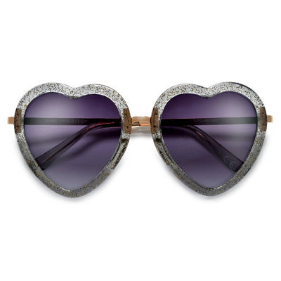 Cute Adorable Glittered Heart Shape Sunnies - Sunglass Spot