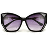 Oversize Geometric Shimmering Accent Cat Eye Sunglasses