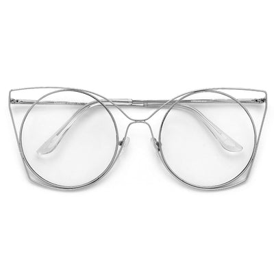 Round Thin Metal Cutout Cat Eye Fashion Eyewear - Sunglass Spot
