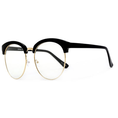 Large Oversize 60mm Horned Rim Bold Half Frame Clear Lens Eyewear