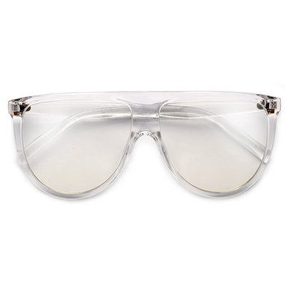 61mm Oversize Modern Flat Top Thin Lightweight Clear Aviator - Sunglass Spot