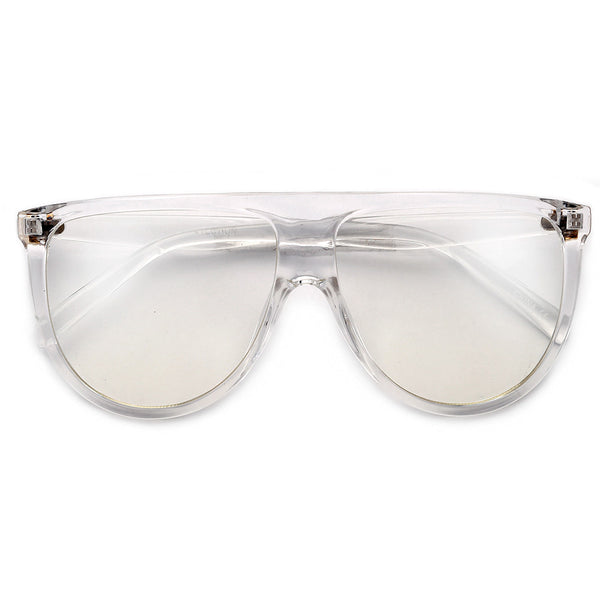 61mm Oversize Modern Flat Top Thin Lightweight Clear Aviator
