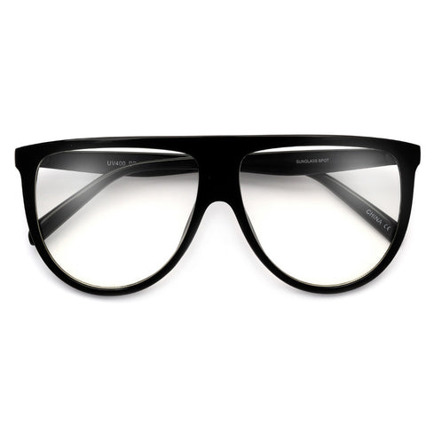 Nerdy 50mm Horn Rimmed Cat Eye Silhouette Clear Lens Glasses