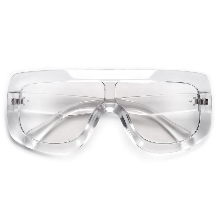 Oversize 138mm Bold Thick Shield Clear Eyewear - Sunglass Spot