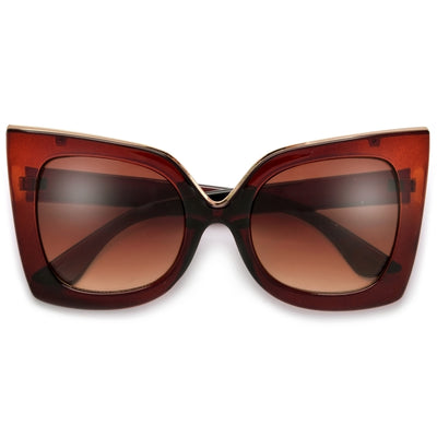 Metal Outlined Trim Flat Cat Eye Sunglasses - Sunglass Spot