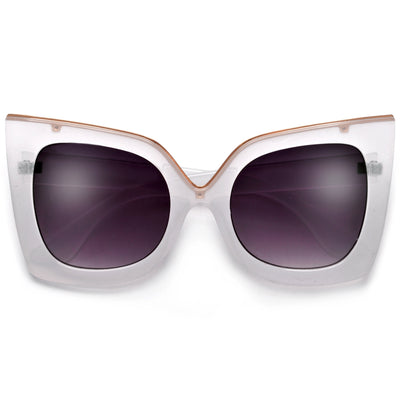 Metal Outlined Trim Flat Cat Eye Sunglasses