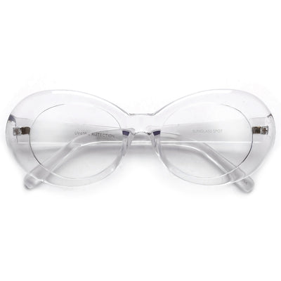 Vintage Inspired Oval Cobain Clout Clear Eyewear - Sunglass Spot