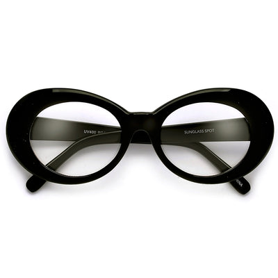 Vintage Inspired Oval Cobain Clout Clear Eyewear