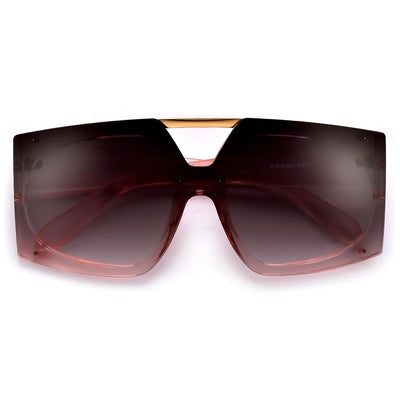 Oversized Rectangular Double Brow Bar Shield Lens Sunnies - Sunglass Spot