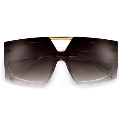 Oversized Rectangular Double Brow Bar Shield Lens Sunnies