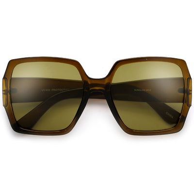 Oversized Chic Bold Squared Off Colorful Crystal Frame Sunglasses - Sunglass Spot