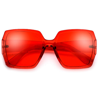 Oversized Chic Bold Squared Off Colorful Crystal Frame Sunglasses
