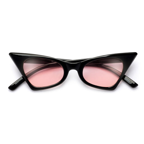 Retro Vibe Flat Lens Keyhole Bridge Exaggerated Cat Eye Sunnies
