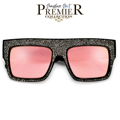 Premier Collection-Oversize Flat Top Shimmering Stone Frame Sunglasses