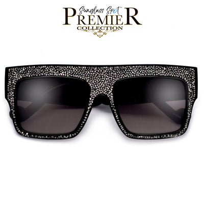 Premier Collection-Oversize Flat Top Shimmering Stone Frame Sunglasses - Sunglass Spot