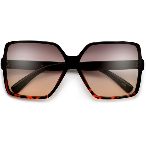 Flat Out Squared Shield with Brow Bar Accentuates the Modern Chic Sunglasses