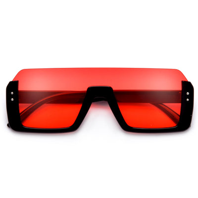 Sleek Half Frame Flat Top Flirty Shields - Sunglass Spot