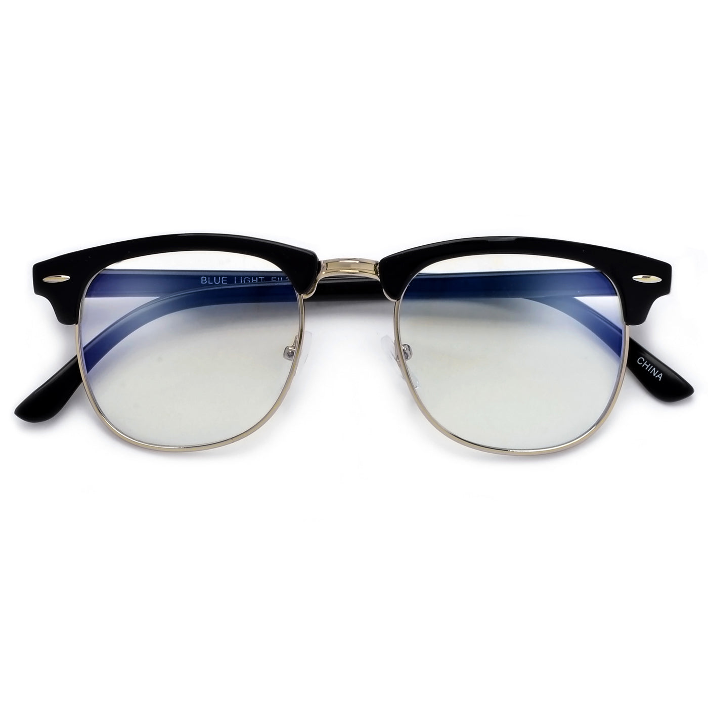 6c5f9004908 Retro Inspired Half Frame Semi-Rimless Charcoal Gray Clear Lens ...