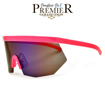 PREMIER COLLECTION-OVERSIZE RETRO 80'S SUMMER SPORT SHIELD SUNNIES - Sunglass Spot