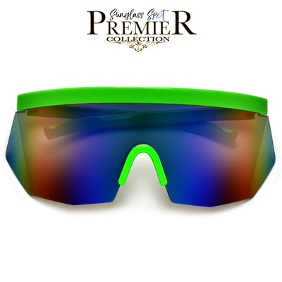 PREMIER COLLECTION-OVERSIZE RETRO 80'S SUMMER SPORT SHIELD SUNNIES