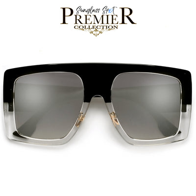 PREMIER COLLECTION-BOLD OVERSIZE SQUARE FRAME FULL COVERAGE SUNGLASSES - Sunglass Spot