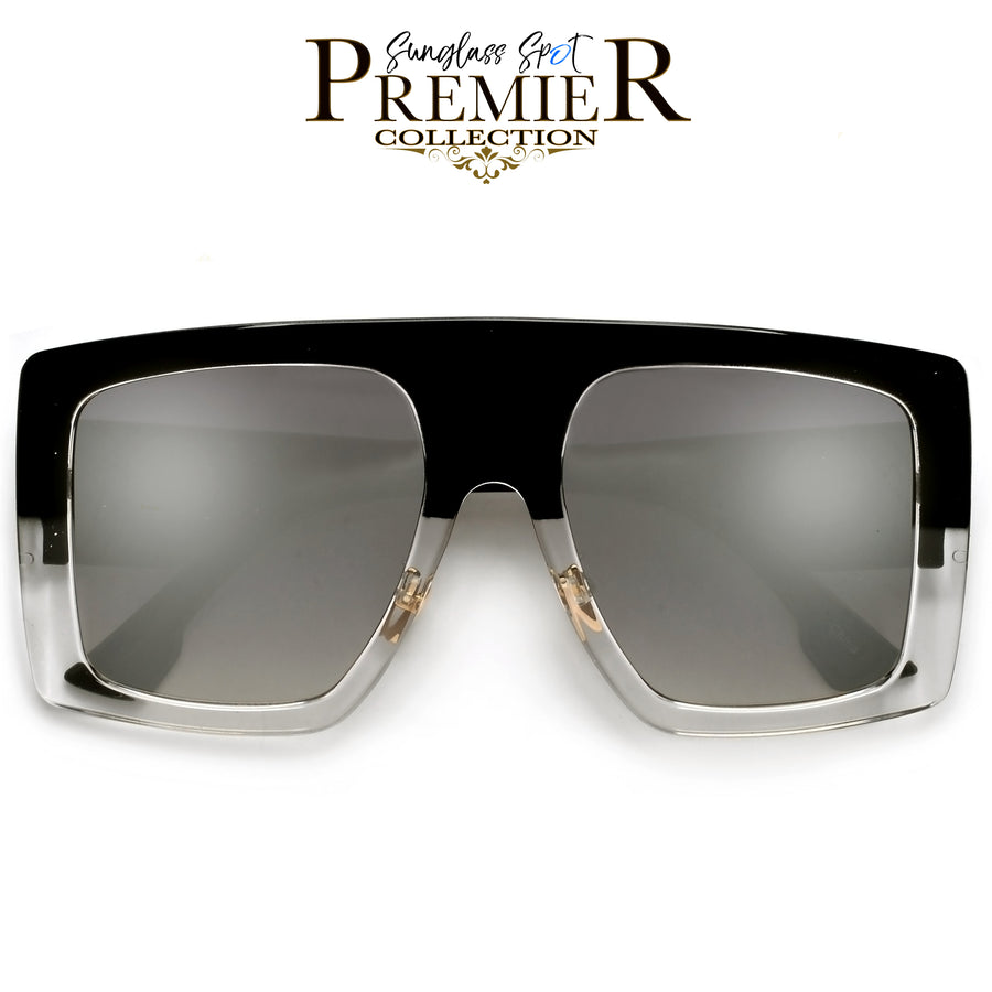 PREMIER COLLECTION-BOLD OVERSIZE SQUARE FRAME FULL COVERAGE SUNGLASSES