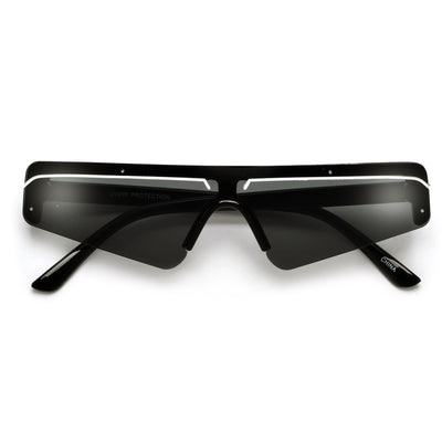 Bold Retro Futuristic Sleek Shield Sunnies - Sunglass Spot