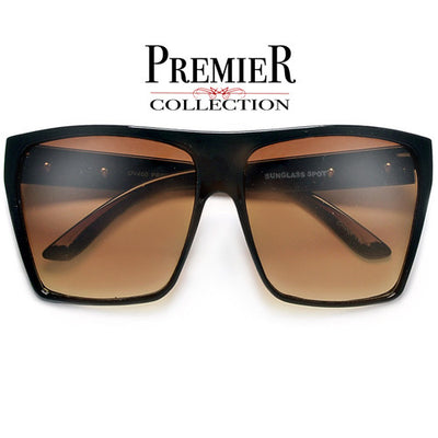 Premier Collection-Polarized Glare-Reducing Large Oversized Indie Fashion Flat Top Squared Frame Sunglasses - Sunglass Spot