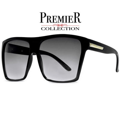 Premier Collection-Polarized Glare-Reducing Large Oversized Indie Fashion Flat Top Squared Frame Sunglasses
