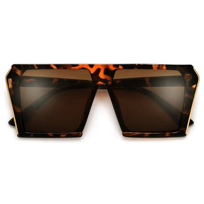 Sharply Exaggeraged Flat Top Gold Metal Accent Shield Sunnies - Sunglass Spot