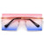 Rimless Rivet Decor Oversize Shield Sunnies
