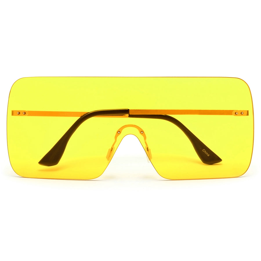 Oversize Lightweight Rimless Fashion Shields - Sunglass Spot