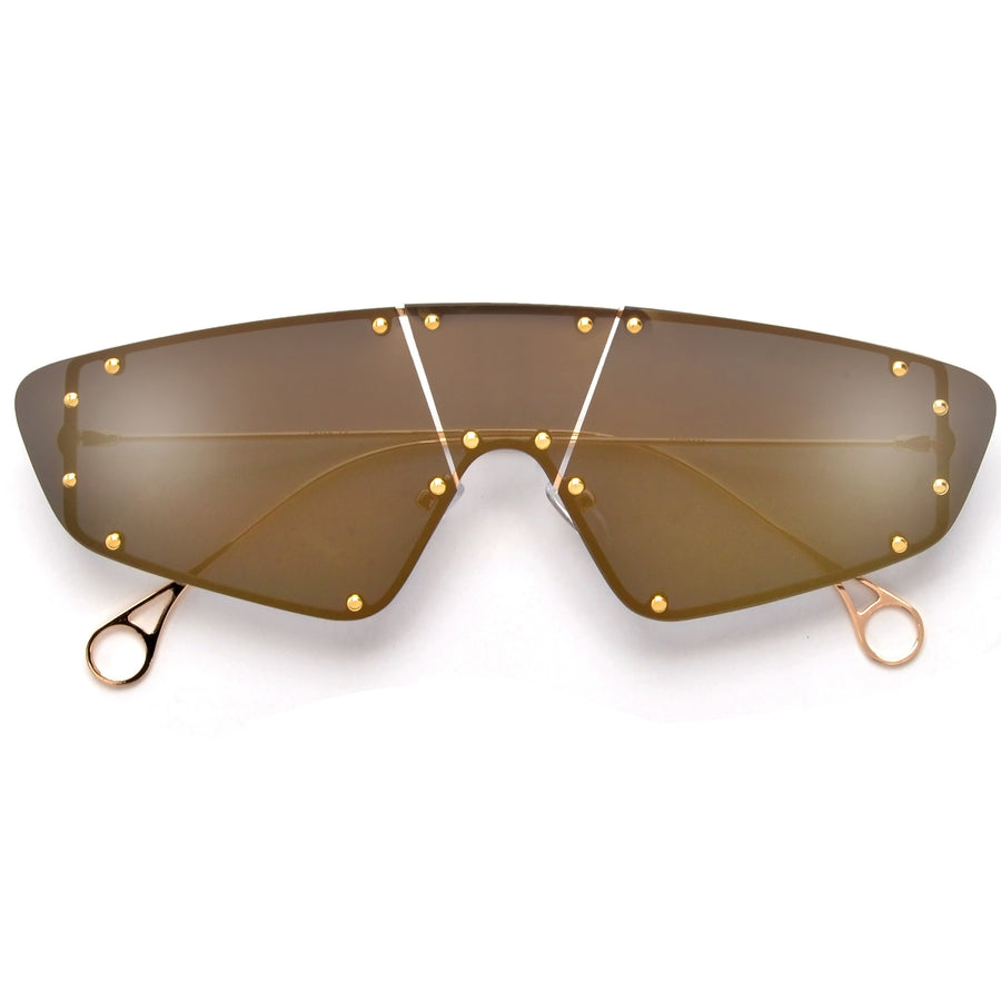 Standout Studded Rimless Shield Sunnies