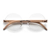 Rimless Round Wood Temple Clear Eye Wear