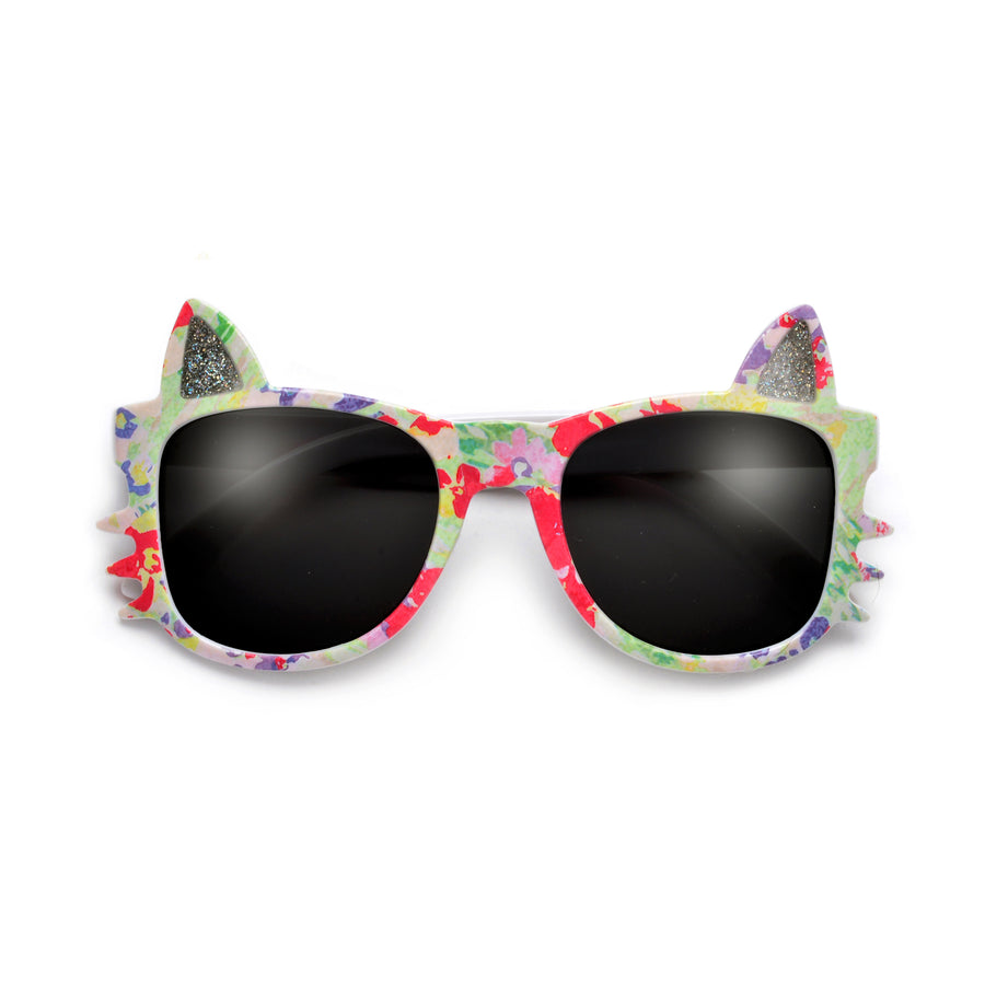 Kids Kitty Silhouette Floral Print Sunglasses