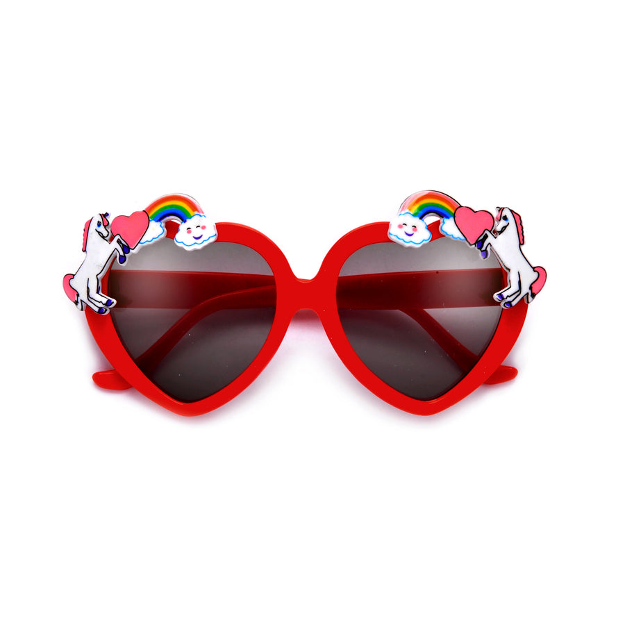 Adorable Kids Unicorn Decorated Heart Sunglasses