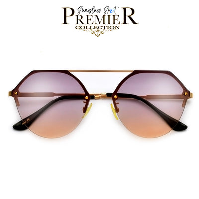Premier Collection-Clean Curvy Flat Brow Bar Iconic Aviator - Sunglass Spot