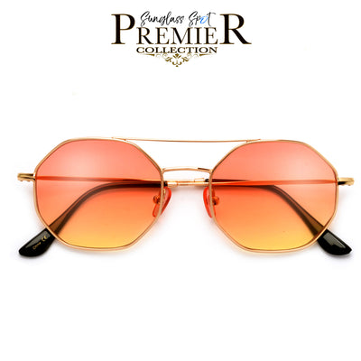 Premier Collection-Slim Modern Aviator Brow Bar Octagonal Sunnies - Sunglass Spot