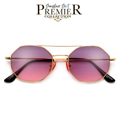Premier Collection-Slim Modern Aviator Brow Bar Octagonal Sunnies