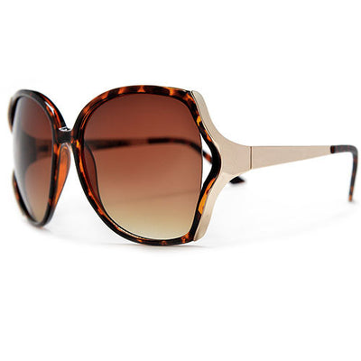 Oversized Modern Fashion Open-Cut Lenses Accented with Gleaming Metal Temples - Sunglass Spot