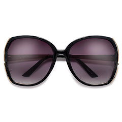 Oversized Modern Fashion Open-Cut Lenses Accented with Gleaming Metal Temples