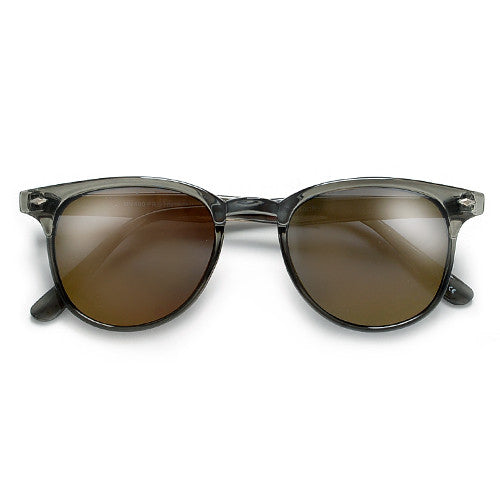 Slim Light Weight 49mm Modified Clubmaster Style Sunglasses