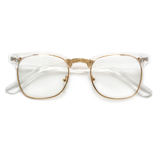 Crystal Frame Stylish Half Frame Clear Eyewear