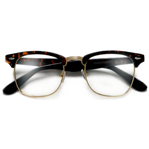 Classic Clubmaster Style Half Frame with Crystal Clear Lens Stylish Glasses