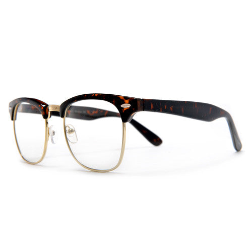 Classic Half Frame with Crystal Clear Lens Stylish Glasses ...