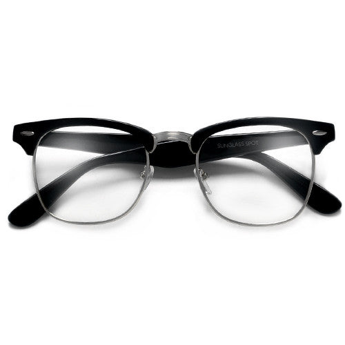 Classic Half Frame with Crystal Clear Lens Stylish Glasses - Sunglass Spot