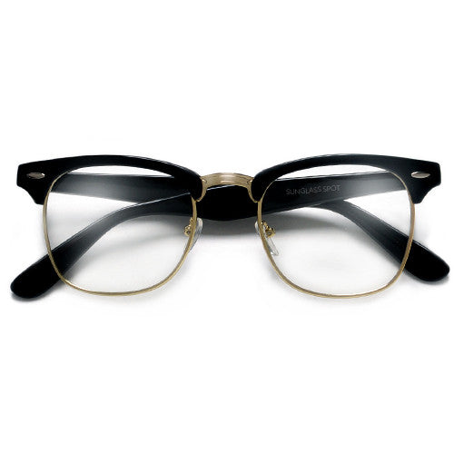 stylish eyeglass frames o93q  Classic Clubmaster Style Half Frame with Crystal Clear Lens Stylish  Glasses