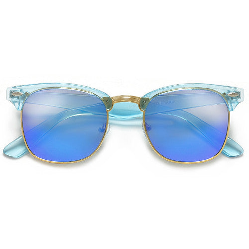 Retro Half Frame Semi-Rimless Colorful Lens Clubmaster Style Sunglasses